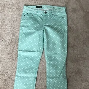 J.crew mint green polka dot cropped jeans size 28